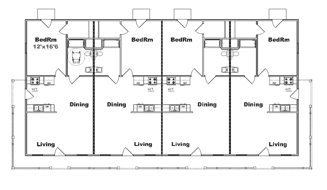 Free home plans 4 plex building plans for Four unit apartment building plans