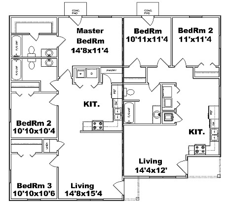 Triplex plan j1842 t plansource inc for Triplex plans one story
