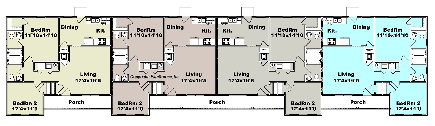 Apartment plan j1964 4b plansource inc Fourplex apartment plans