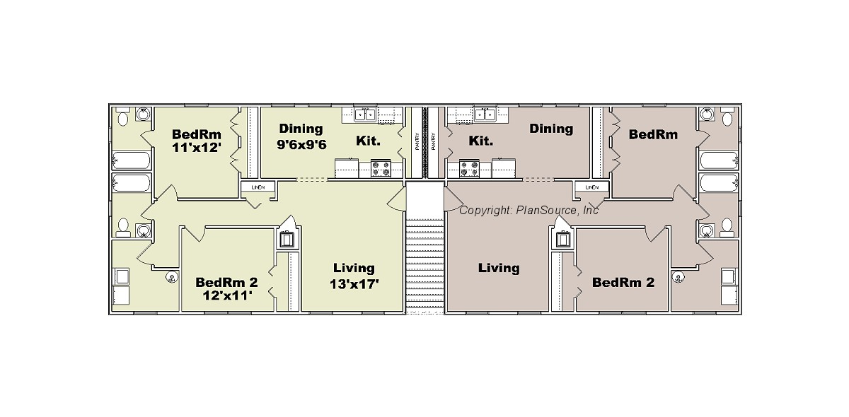 Apartment plan j1964 4 plansource inc for Two unit apartment plans
