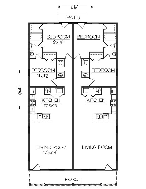 Duplex house plans narrow lot html for Duplex apartment plans