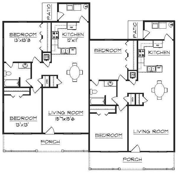 Four plex floor plans house plans home designs for Apartment plans 4 plex