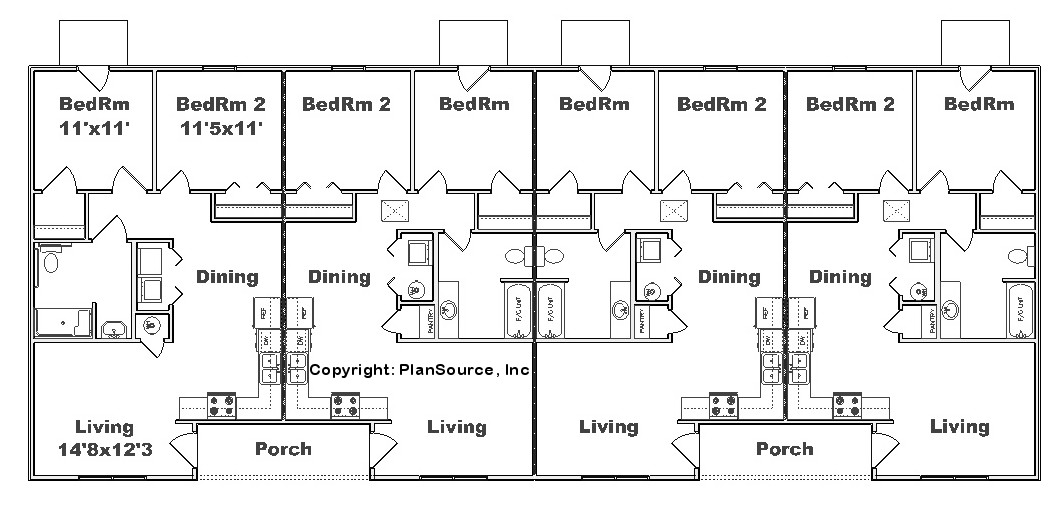 Fourplex plan j2878 4b plansource inc Fourplex apartment plans