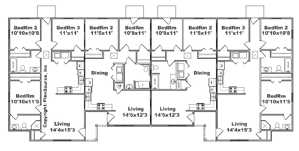 Fourplex plan j2878 4 plansource inc for 4 plex designs