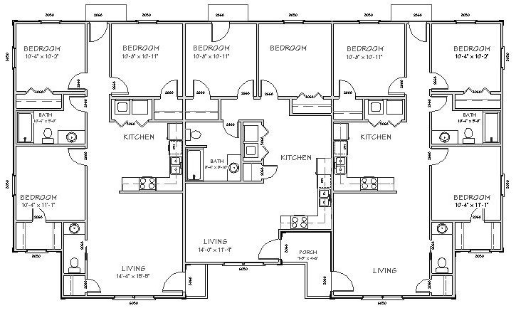 Triplex plan j2878 t for Triplex plans one story