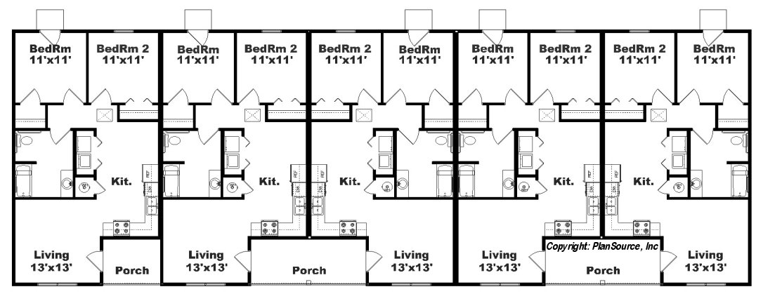 Apartment Plan With 5 Units J748 5 Plansource Inc