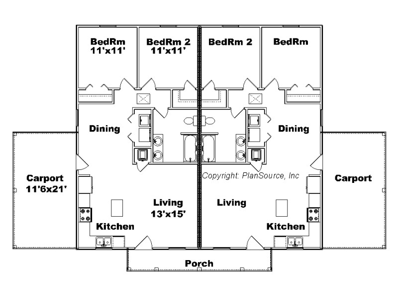 28 duplex house plan j949d plansource duplex house for Basic duplex floor plans