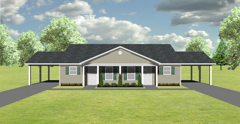 Duplex plan j748 cp plansource inc for Single story duplex