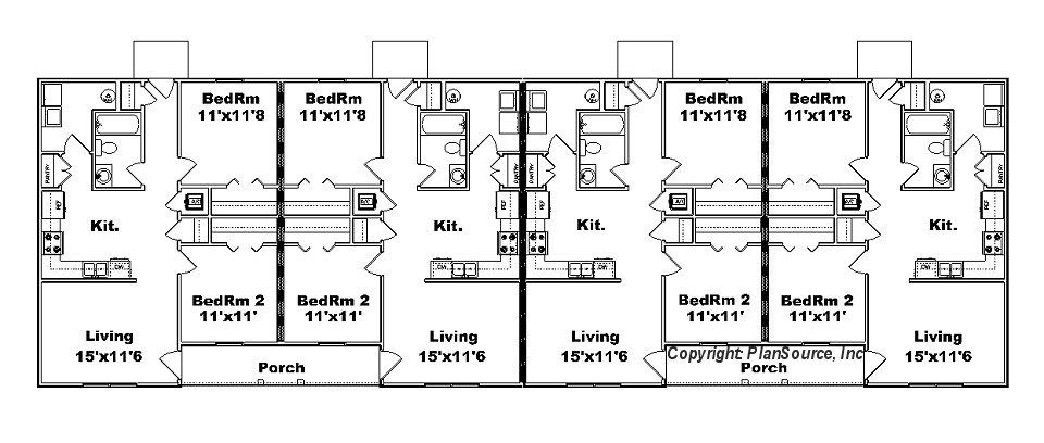 4 plex apartment plan j778 4b plansource inc for 4 apartment building plans