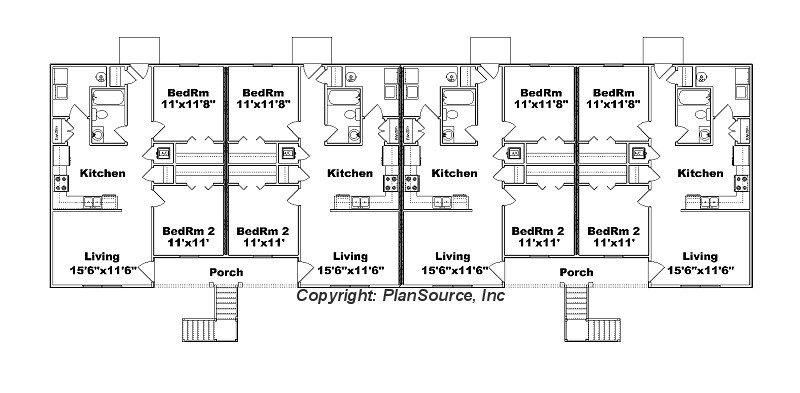 8 unit apartment plan j778 8 for Apartment building plans 6 units