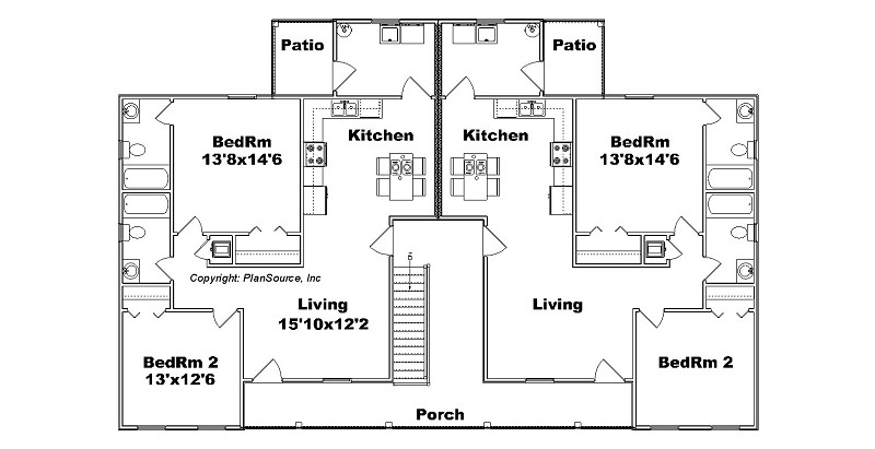 12 plex apartment plans pictures to pin on pinterest for Apartment plans 4 plex
