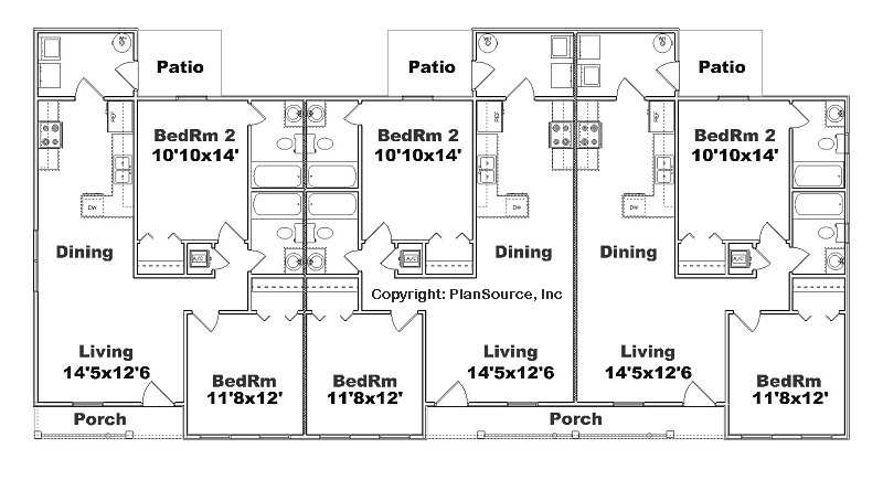 Triplex plan j891t plansource inc for Apartment building plans 8 units