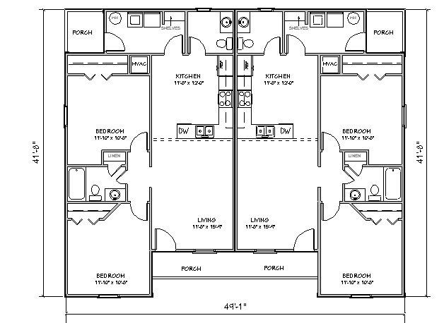 Duplex House Plan J918d Plansource Inc