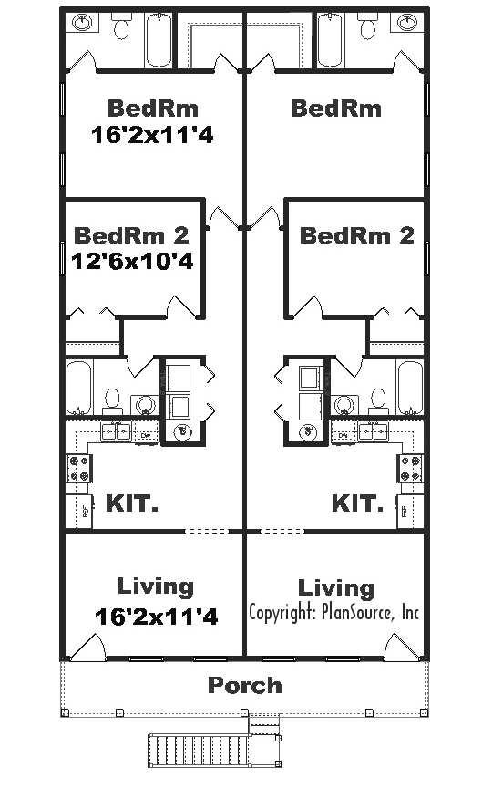 J925 4 4 plex by plansource inc for 4 plex apartment floor plans