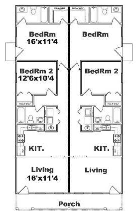 Duplex j925d 4 plex plans narrow lot
