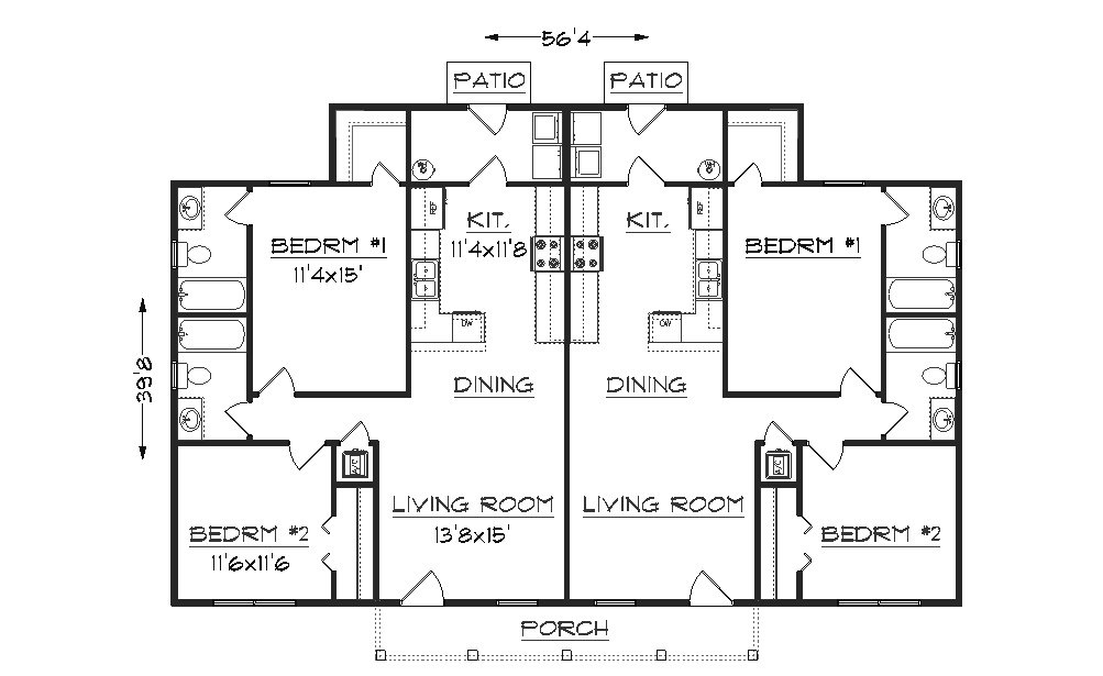 Duplex plan j942d Duplex floor plans with garage