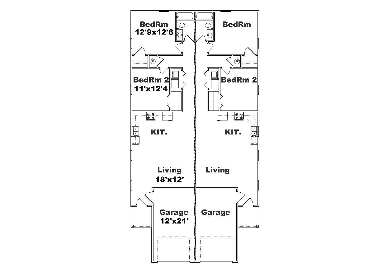 Duplex j973d plansource inc for Narrow apartment plans