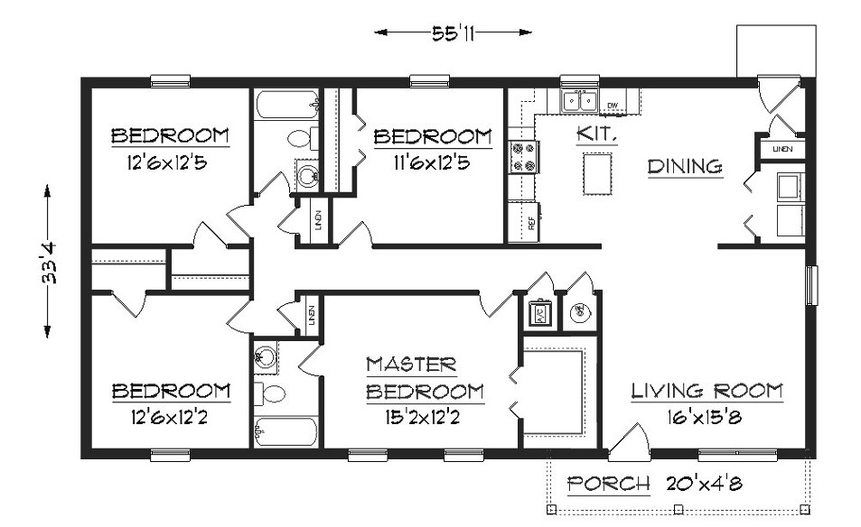 House plan j1624 plansource inc Simple house floor plans