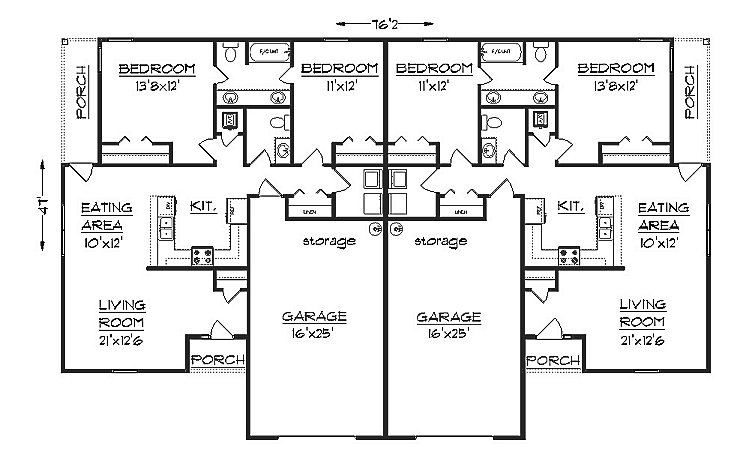 Duplex house plan s1038d Duplex floor plans with garage